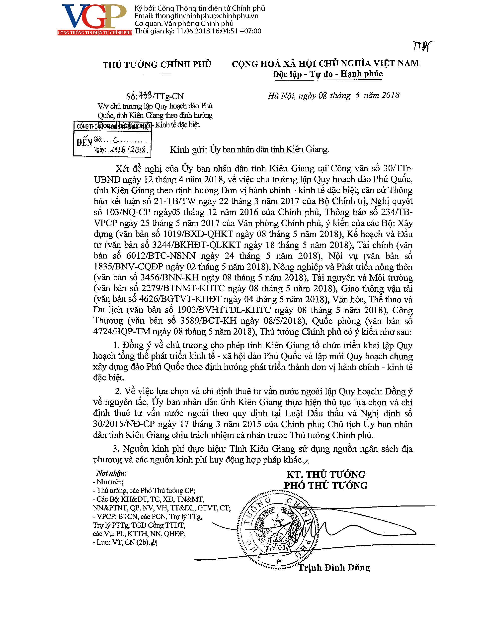 Công văn số 739TTg-CN của Thủ tướng Chính phủ Vv chủ trương lập Quy hoạch đảo Phú Quốc, tỉnh Kiên Giang theo định hướng Đơn vị hành chính - Kinh tế đặc biệt