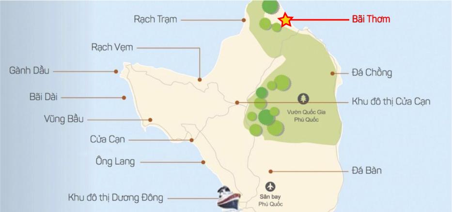 Vị-trí-Bãi-Thơm-Phú-Quốc bãi thơm - Vị-trí-Bãi-Thơm-Phú-Quốc-WikiPhuQuoc - Bãi Thơm – Vẽ đẹp hoang sơ tại đảo ngọc Phú Quốc.