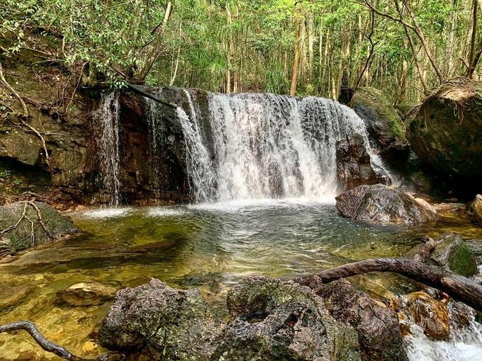 Từ cổng Khu Du lịch Suối Tranh Phú Quốc, du khách đi qua đường mòn lát những viên đá nhỏ, sau khoảng 30 phút đi bộ, bạn sẽ gặp một ngọn thác cao khoảng 2 m. Dưới chân thác, nước đọng lại thành một hồ nước trong và mát rượi, du khách có thể tắm mát, vui chơi tại đây. Ảnh: @ibruque/Instagram - WikiLand  - suoi-tranh-phu-quoc-01-1929-1631445080 - 3 con suối chỉ đẹp vào mùa mưa ở Phú Quốc